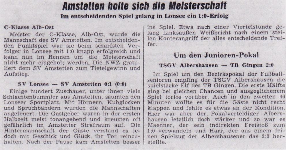 Bericht zur Meisterschaft 1967-1968
