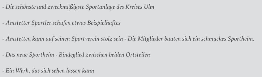 Schlagzeilen Sportheim