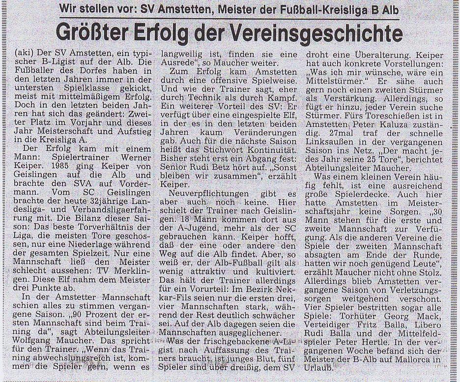 1987 - Meister 1. Mannschaft Aufstieg