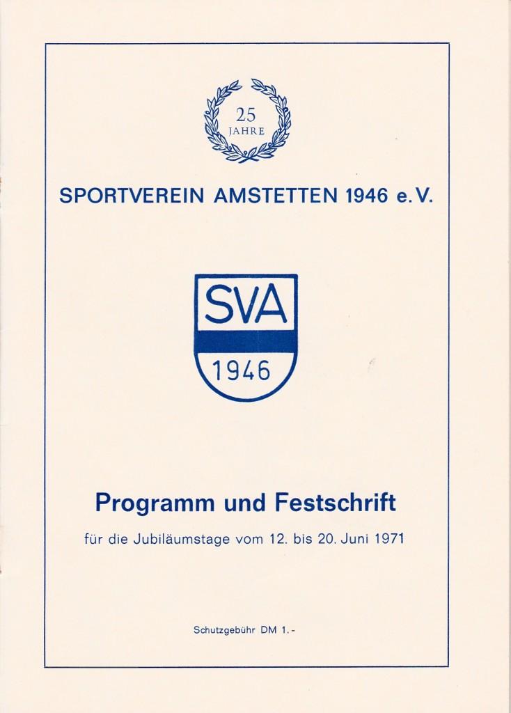 Festschrift 25 Jahre 1971 Titelseite